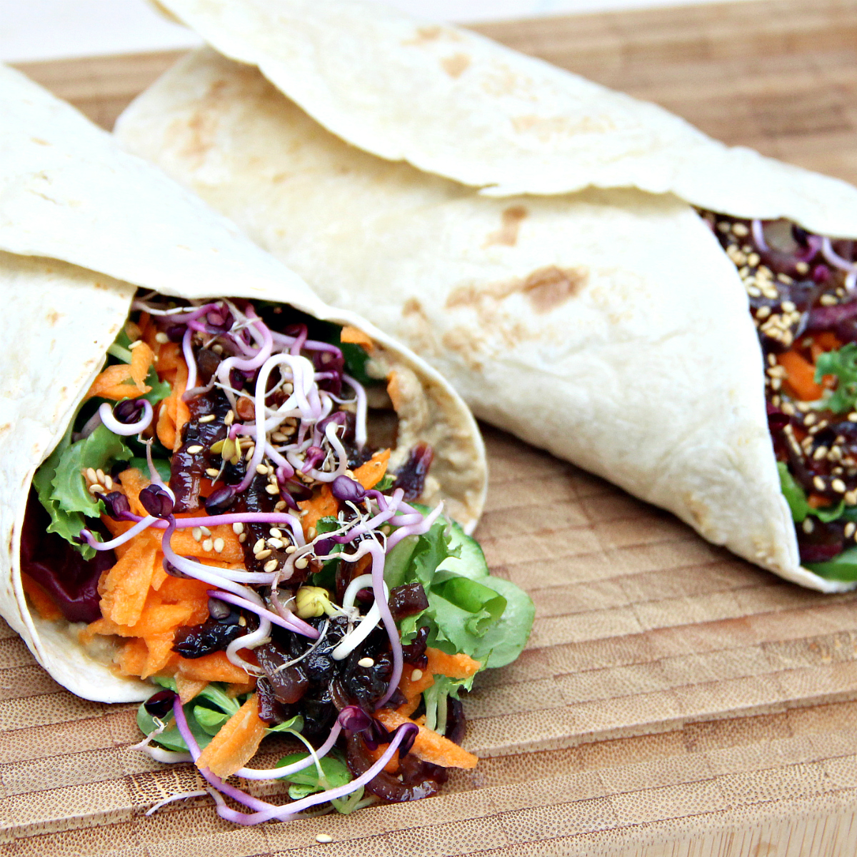 Baba Ganoush & Caramelized Onion Wraps - The Vegan Eskimo