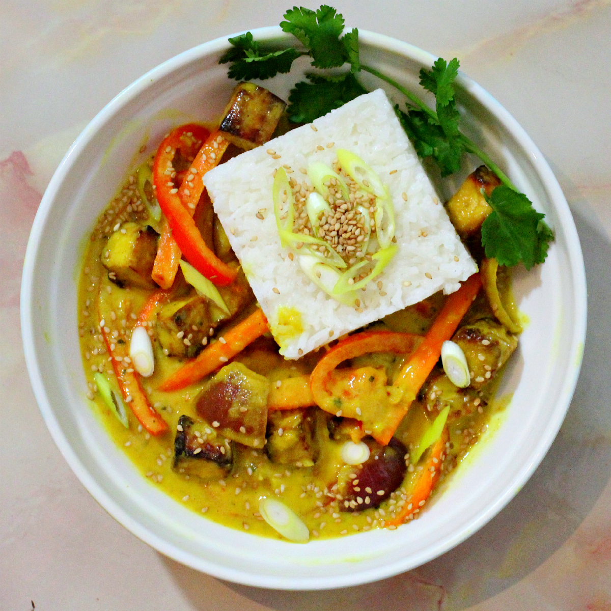 Mango Tofu Coconut Curry - The Vegan Eskimo