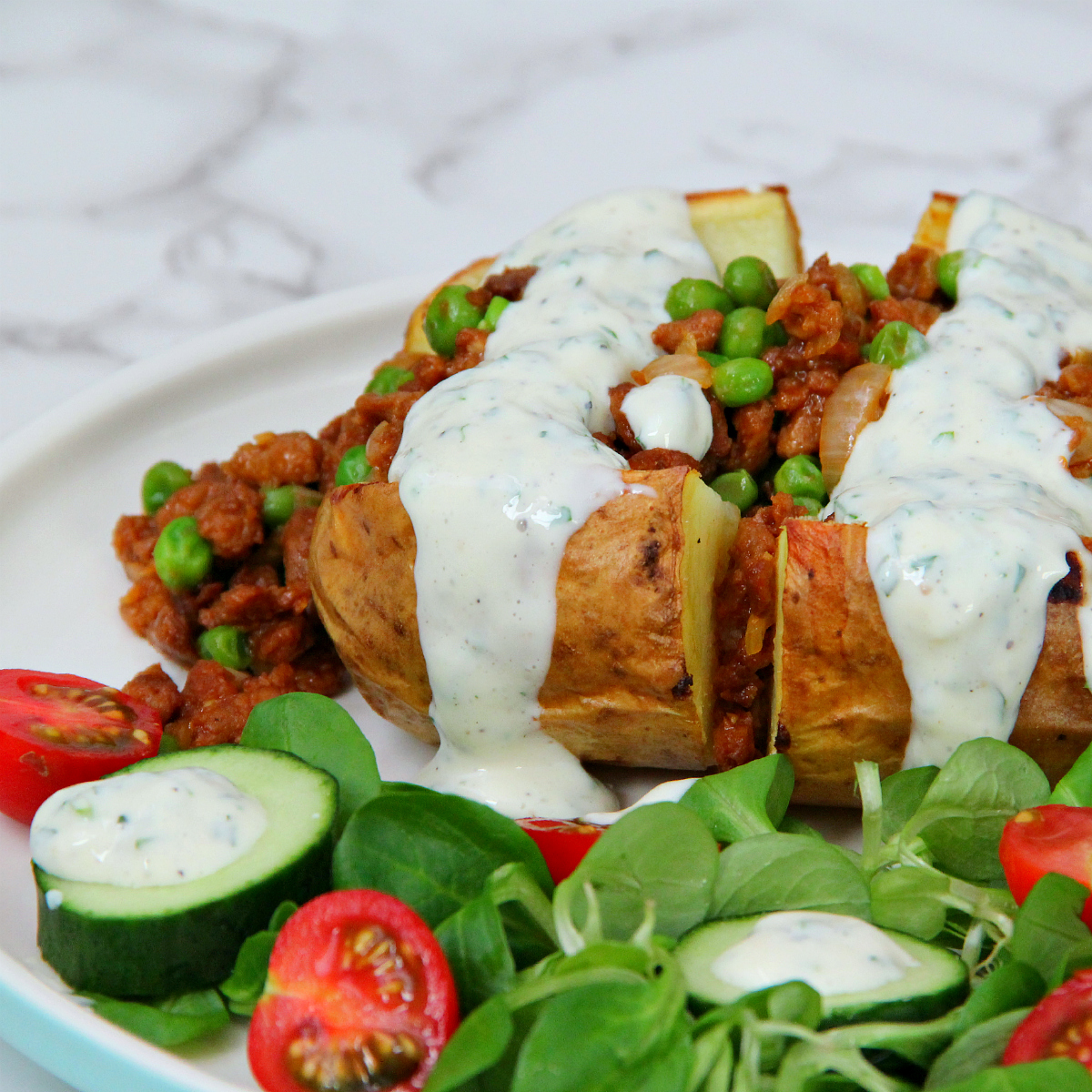 Soy mince & Pea stuffed baked potatoes - The Vegan Eskimo