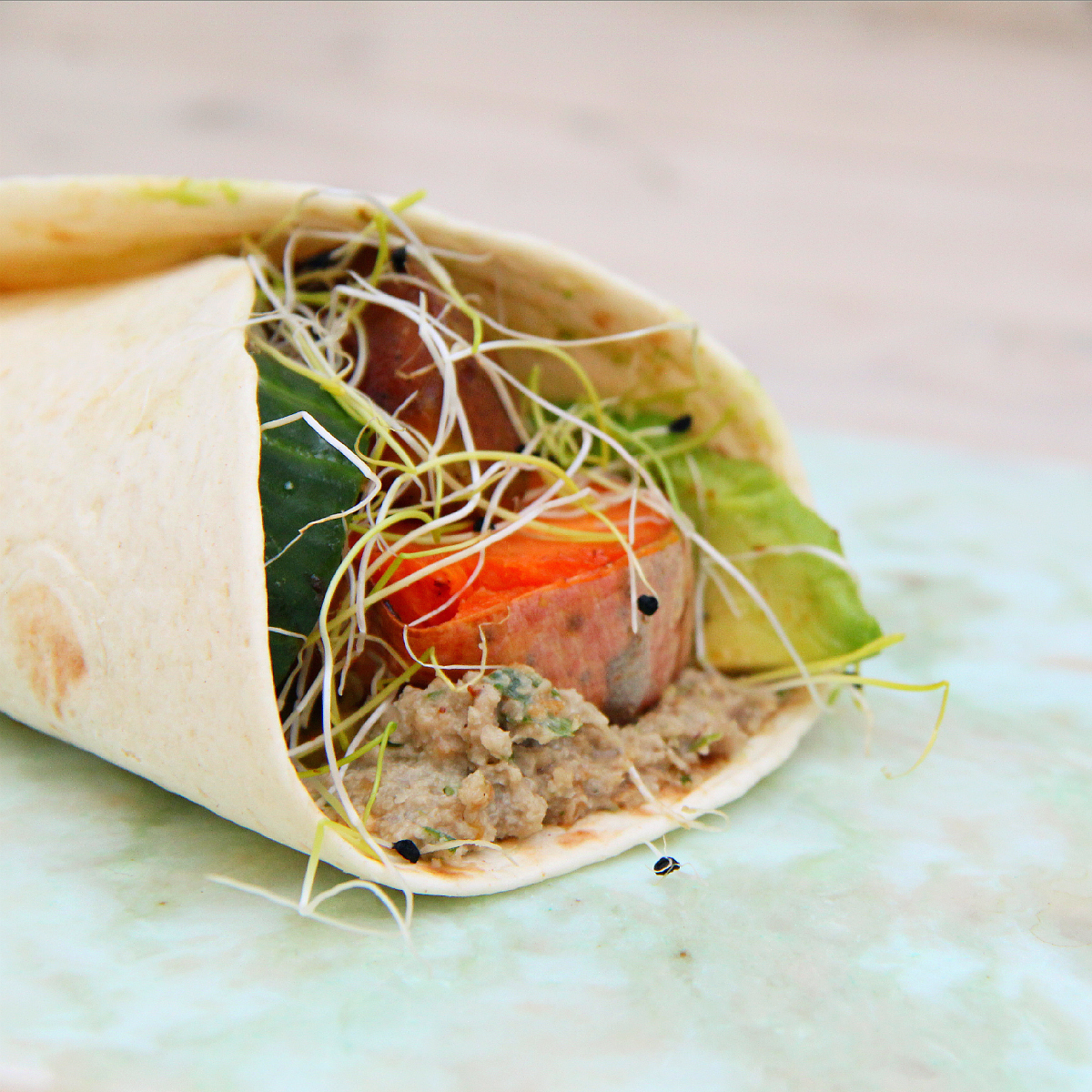 Sweet Potato Caramelized Pear Avocado Wrap - The Vegan Eskimo