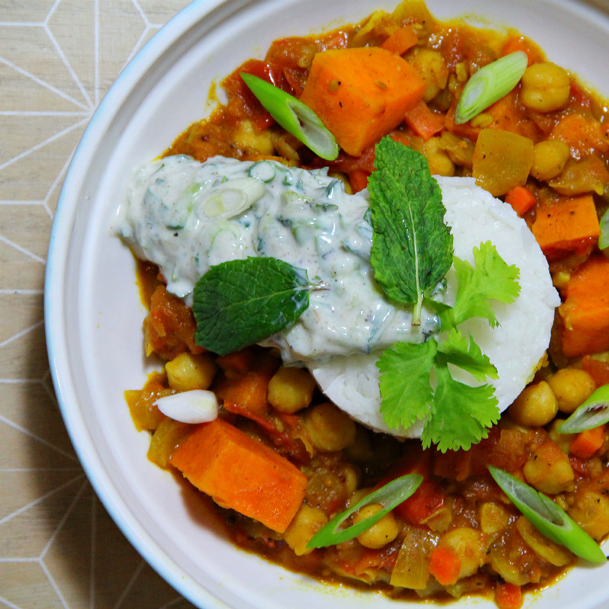 Sweet Potato Chana Masala with Vegan Raita - The Vegan Eskimo