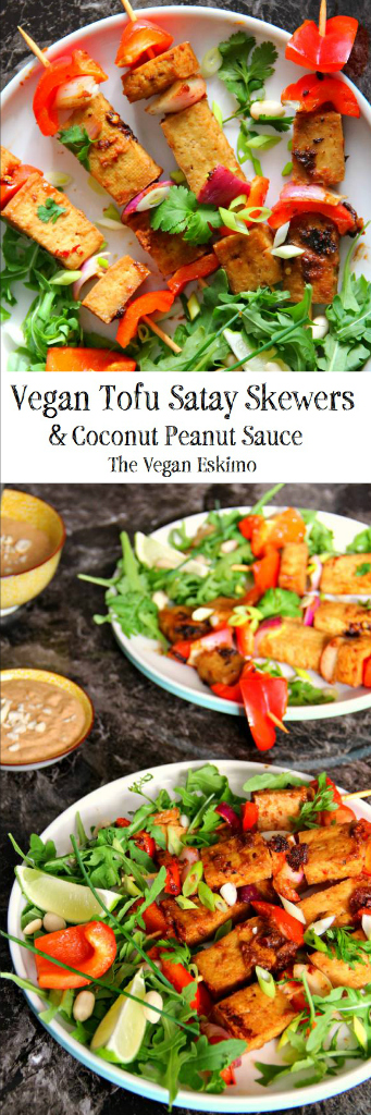 Vegan Tofu Satay Skewers & Peanut Coconut Sauce - The Vegan Eskimo