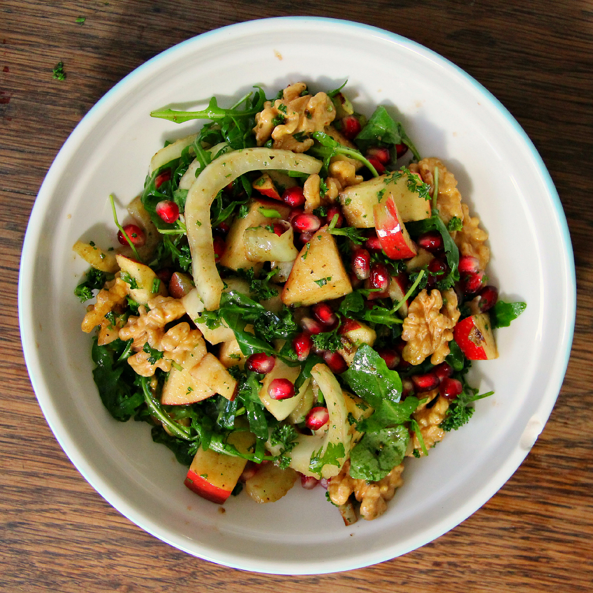 Fried Fennel Pomegranate Apple & Walnut Salad - The Vegan Eskimo
