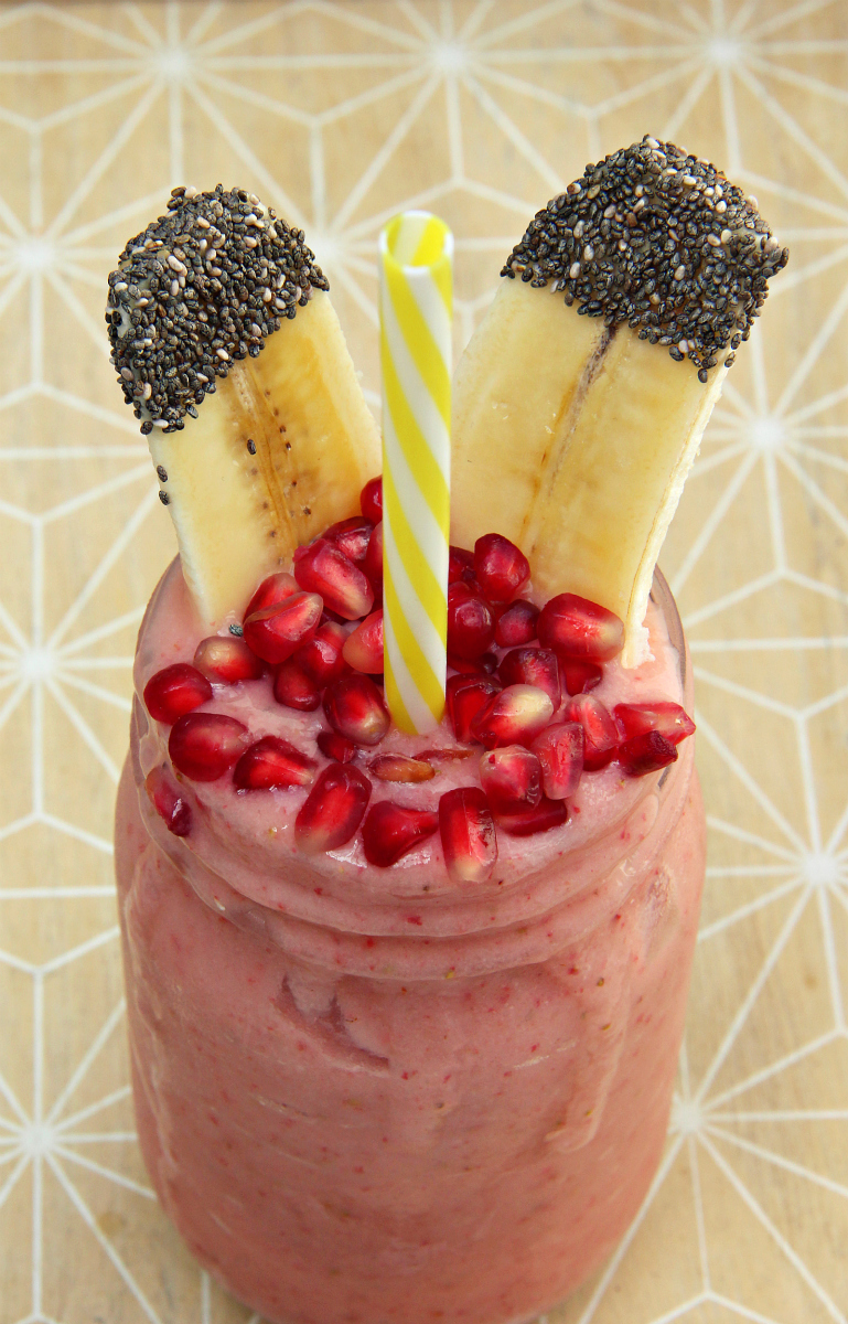 Pink Strawberry Banana Coconut Smoothie - The Vegan Eskimo