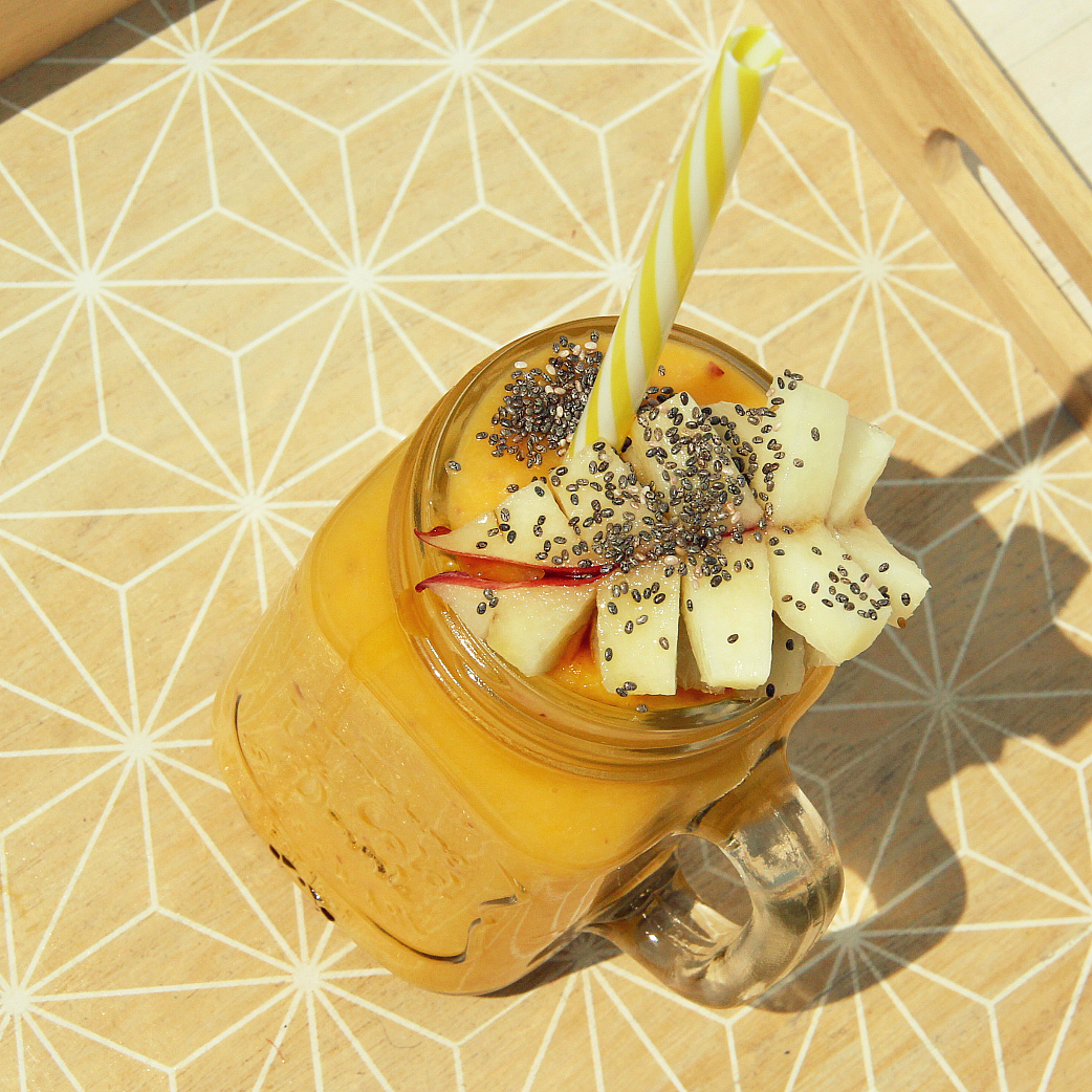 Vegan Yellow Mango Donut Peach Smoothie - The Vegan Eskimo