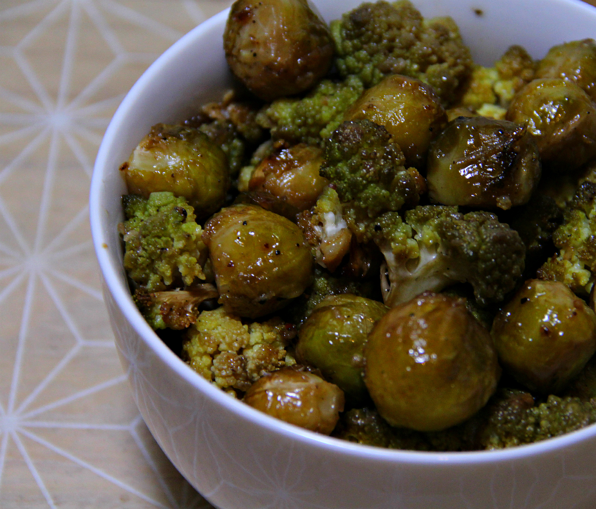 Roasted Glazed Romanesco & Brussels Sprouts - The Vegan Eskimo